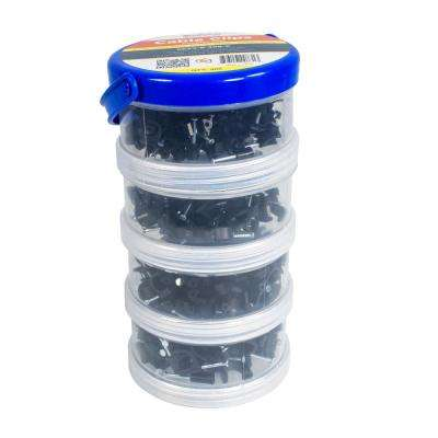 6 mm, 7 mm, 8 mm, 10 mm Cable Clips, Black, 400-Pack, Canister