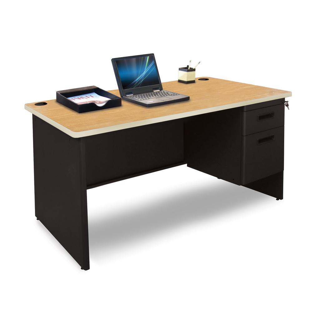 Pronto Laminate Black Single Pedestal Desk Laminate Black Finish