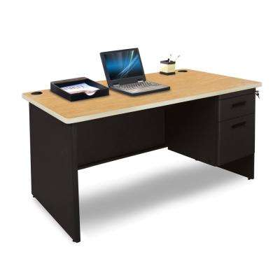 48 in. W x 30 in. D Oak Laminate and Black  Single Pedestal Desk