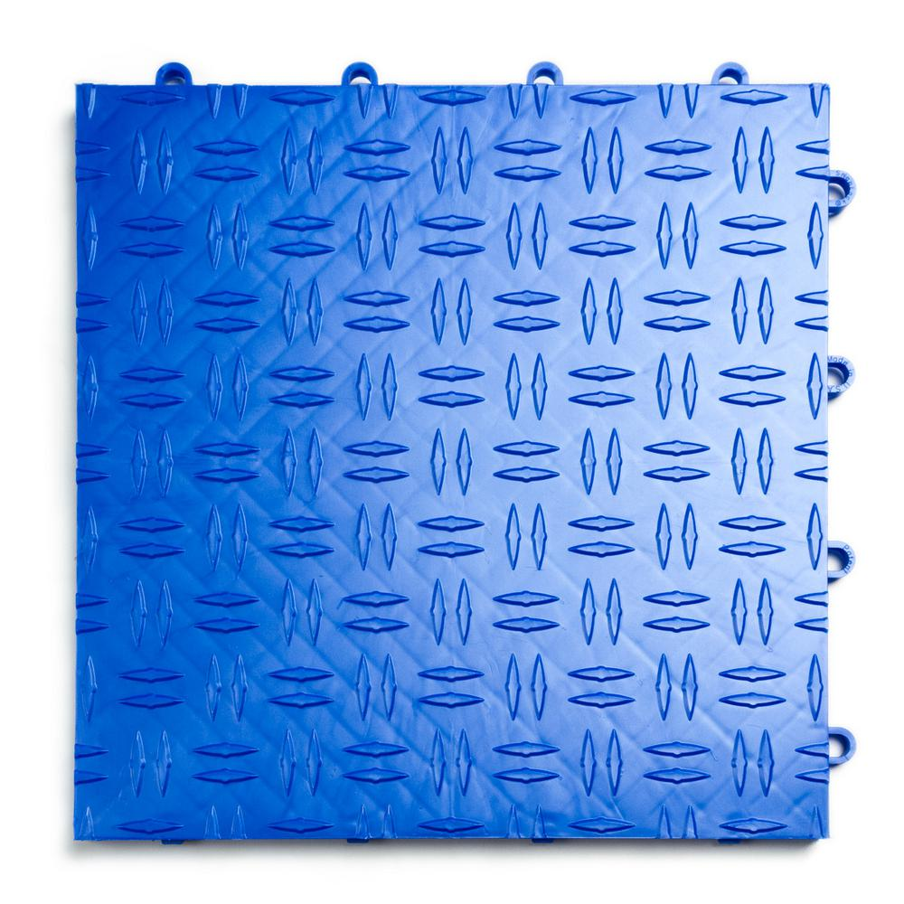 12 in. x 12 in. Diamond Royal Blue Modular Tile Garage