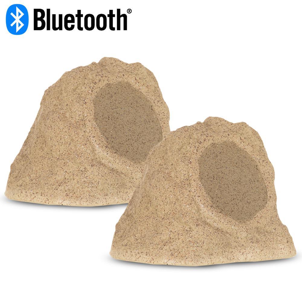 Fully Wireless 200-Watt Battery Bluetooth Rock Speaker Pair, Sandstone