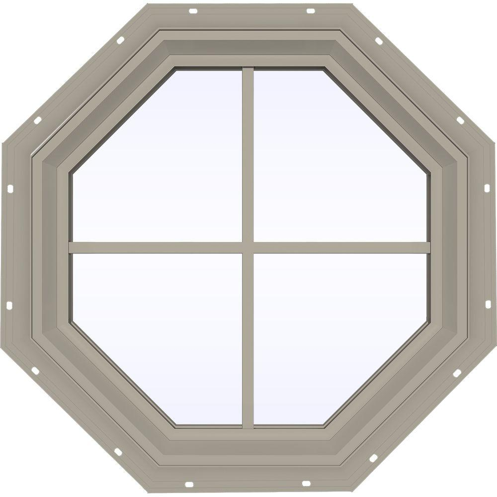 JELD-WEN 23.5 in. x 23.5 in. V-2500 Series Desert Sand Vinyl Fixed Octagon Geometric Window with Colonial Grids/Grilles