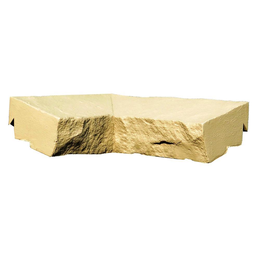 Sandstone Buff 9.75 in. x 7.5 in. Faux Stone Ledger Inside Corner (2-Pack)