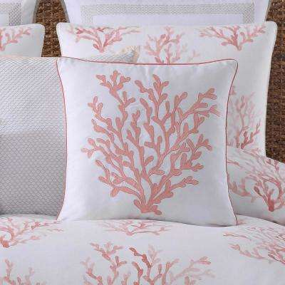 Cove Square Pillow in White and Coral