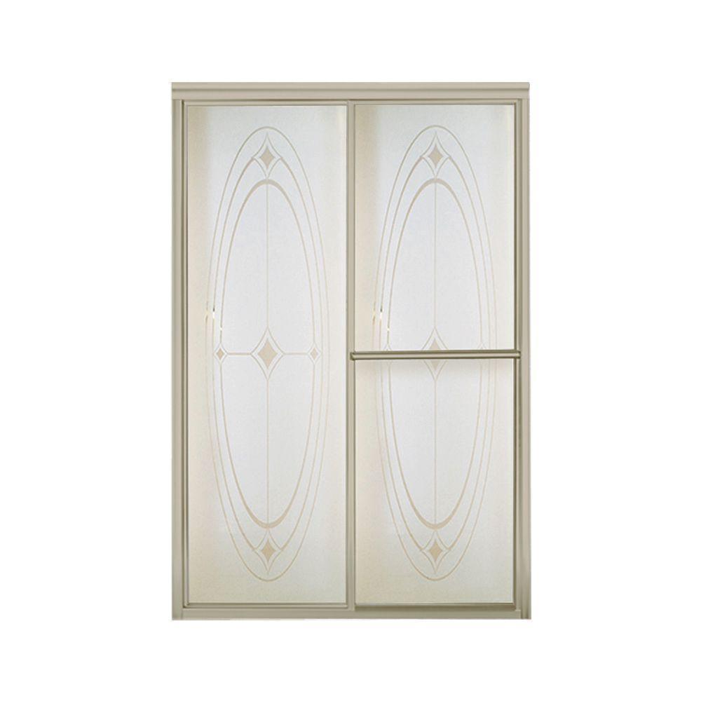 Deluxe 48-7/8 in. x 70 in. Framed Sliding Shower Door in Nickel with Handle