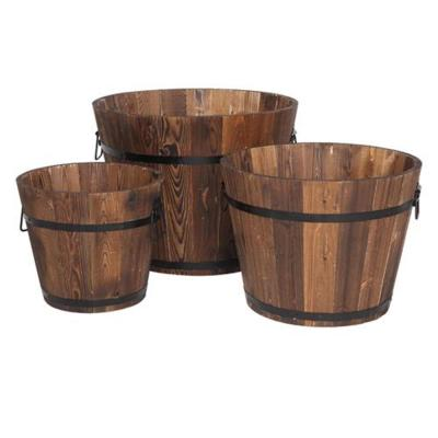 Wooden Bucket Barrel (Set of 3)