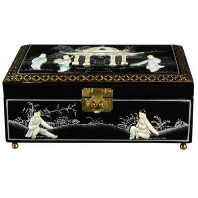 Oriental Furniture Black Clementina Lacquer Jewelry Box