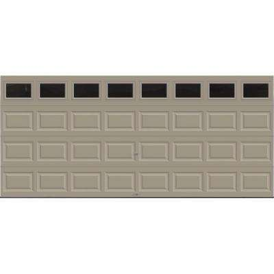 Classic Collection 16 ft. x 7 ft. 18.4 R-Value Intellicore Insulated Sandtone Garage Door with Plain Windows