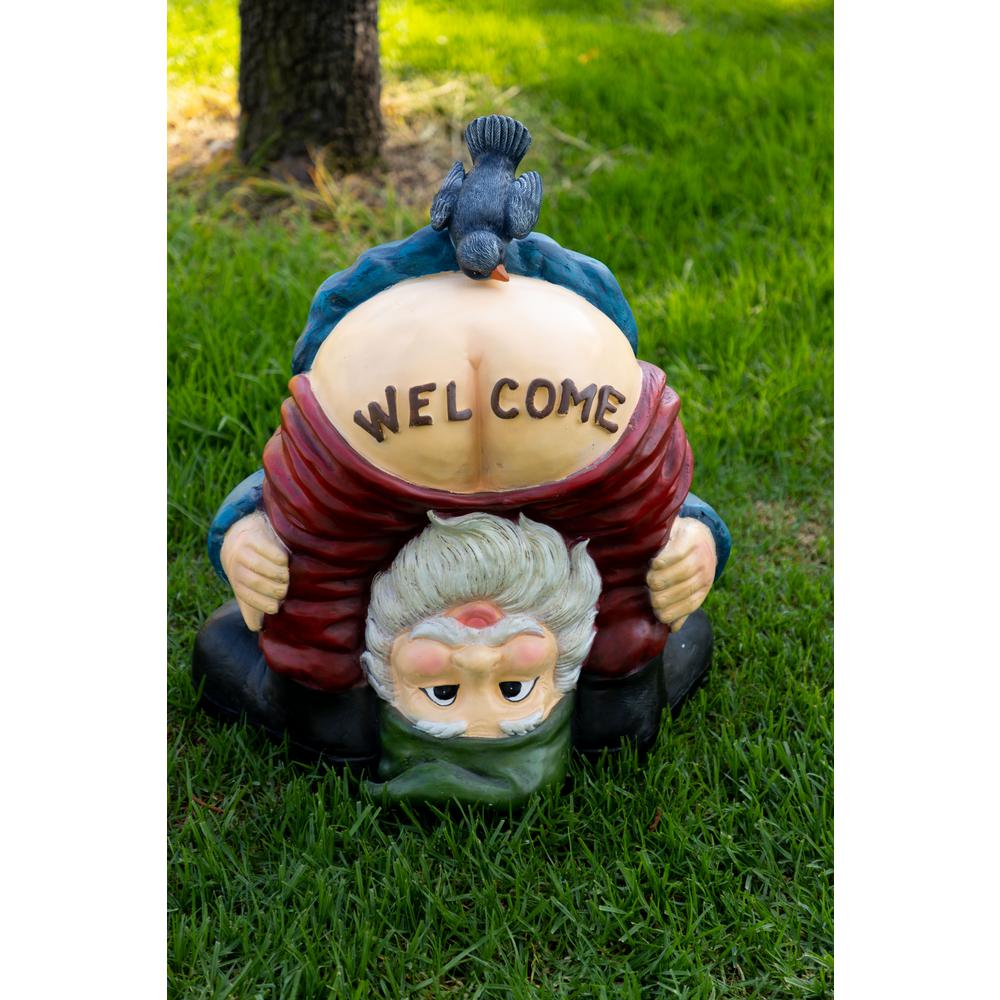 Gnome Garden: Alpine Mooning Welcome Gnome With Bird Statue-ZEN236