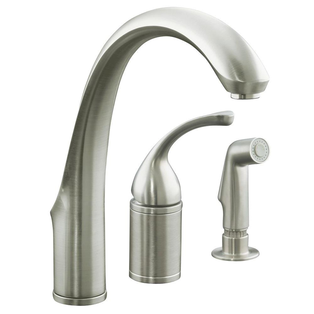 Superieur KOHLER Forte Single Handle Standard Kitchen Faucet With Side Sprayer In  Vibrant Brushed Nickel