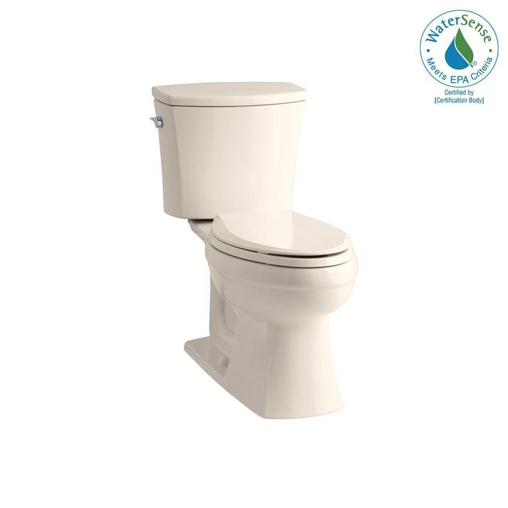 KOHLER Kelston 2-piece 1.28 GPF Elongated Toilet with AquaPiston Flushing Technology in Innocent Blush