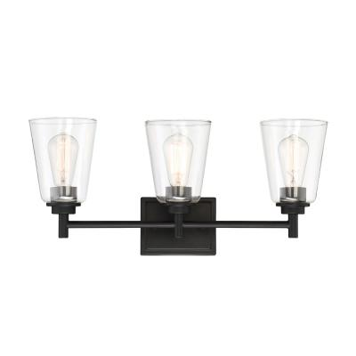 Westin 3-Light Matte Black Bath Bar Vanity Light