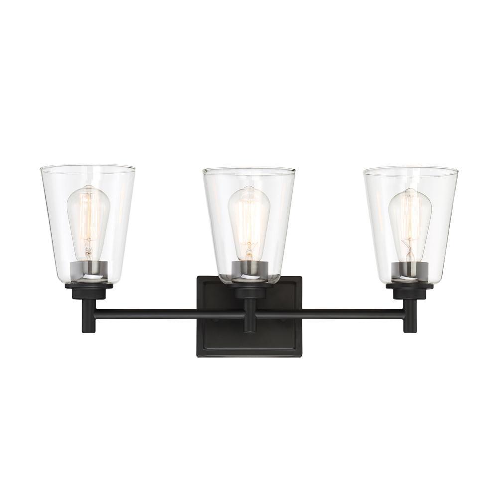 Westin 3-Light Matte Black Bath Bar Vanity Light