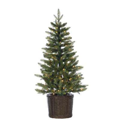 4 ft. Potted Natural Cut Ontario Pine Artificial Christmas Tree with 150 Warm White LED Micro Lights