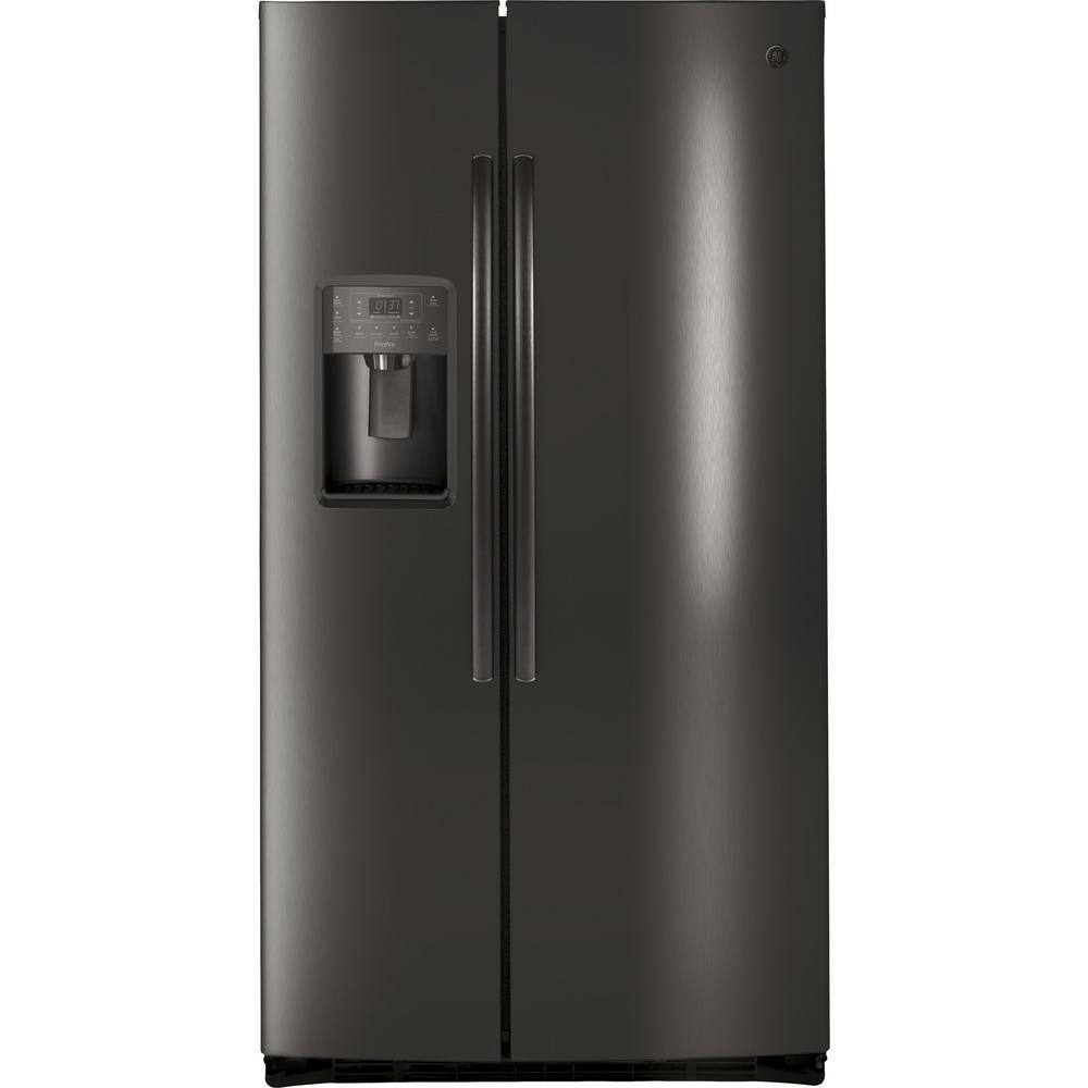 ge profile 25 4 cu ft side by side refrigerator in black stainless steel fingerprint. Black Bedroom Furniture Sets. Home Design Ideas