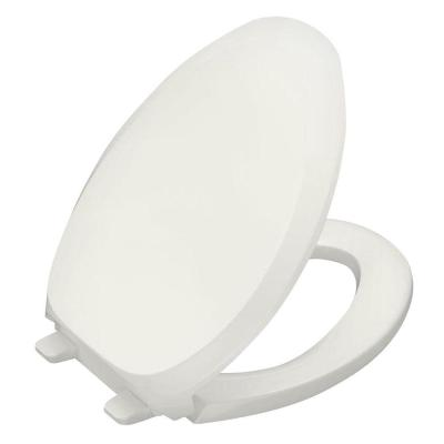 French Curve Quiet-Close Elongated Closed Front Toilet Seat with Grip-Tight Bumpers in White