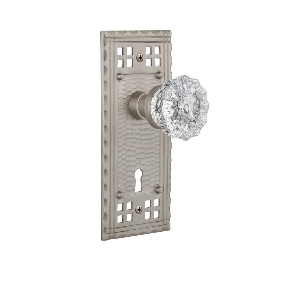 Craftsman Plate Interior Mortise Crystal Glass Door Knob In Satin Nickel