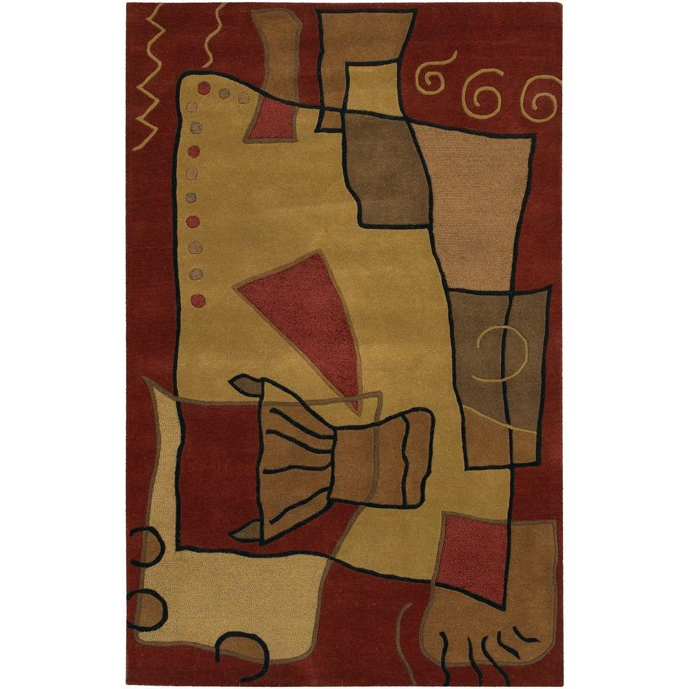 Antara Burgundy/Gold/Brown 5 ft. x 7 ft. 6 in. Indoor Area