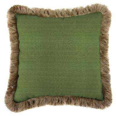 Sunbrella Surge Cilantro Square Outdoor Throw Pillow with Heather Beige Fringe