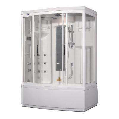 ZAA208 59 in. x 36 in. x 86 in. Steam Shower Left Hand Enclosure Kit in White with 9 Body Jets and Whirlpool Bath