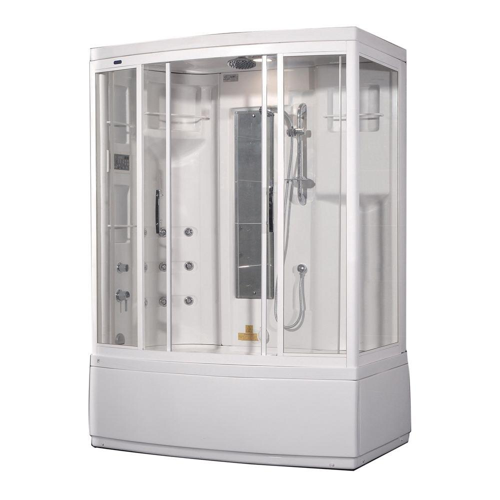 Aston ZAA208 59 in. x 36 in. x 86 in. Steam Shower Left Hand Enclosure Kit in White with 9 Body Jets and Whirlpool Bath