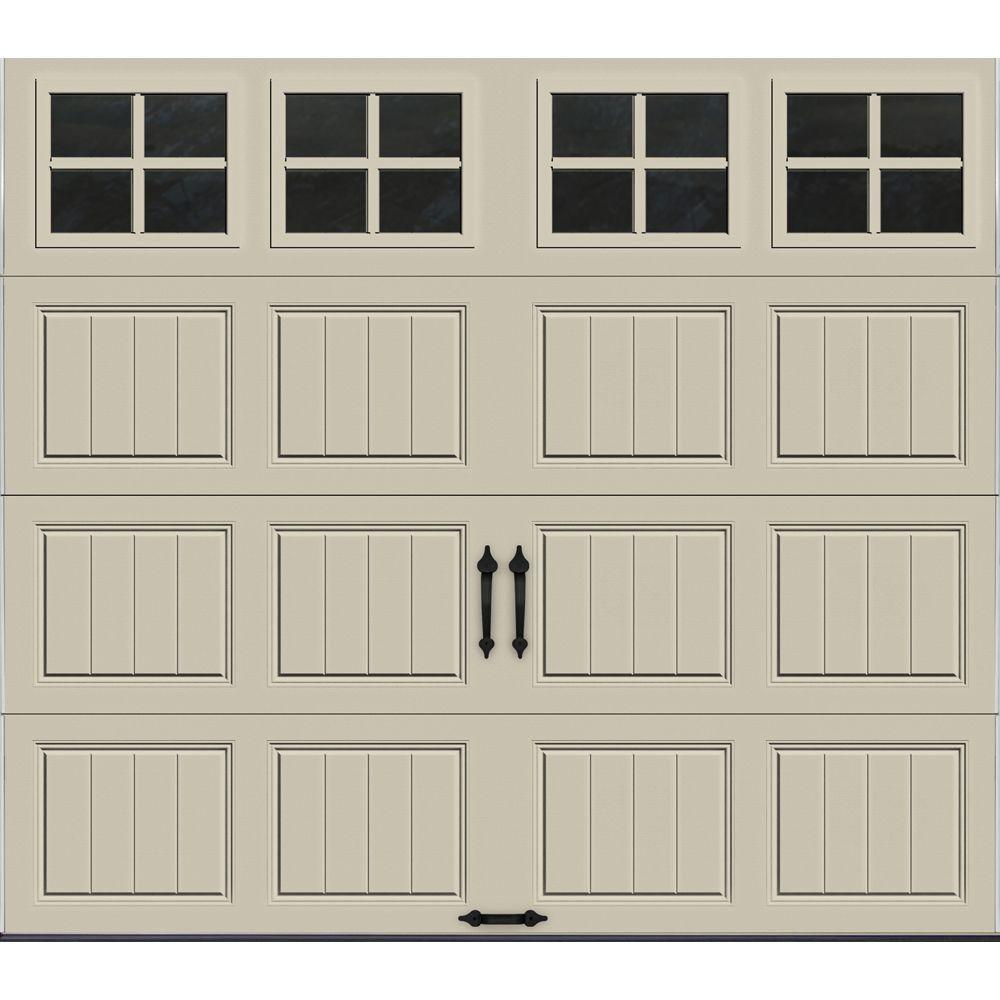 Clopay Gallery Collection 8 ft. x 7 ft. 6.5 R-Value Insulated Desert Tan Garage Door with SQ22 Window