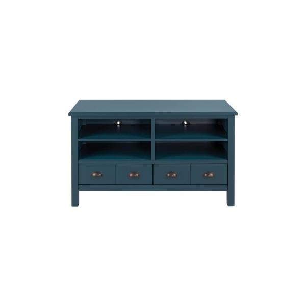 Whitehaven Charleston Teal Wood TV stand with Adjustable Shelves and Two Drawers (45 in. W x 26 in. H)