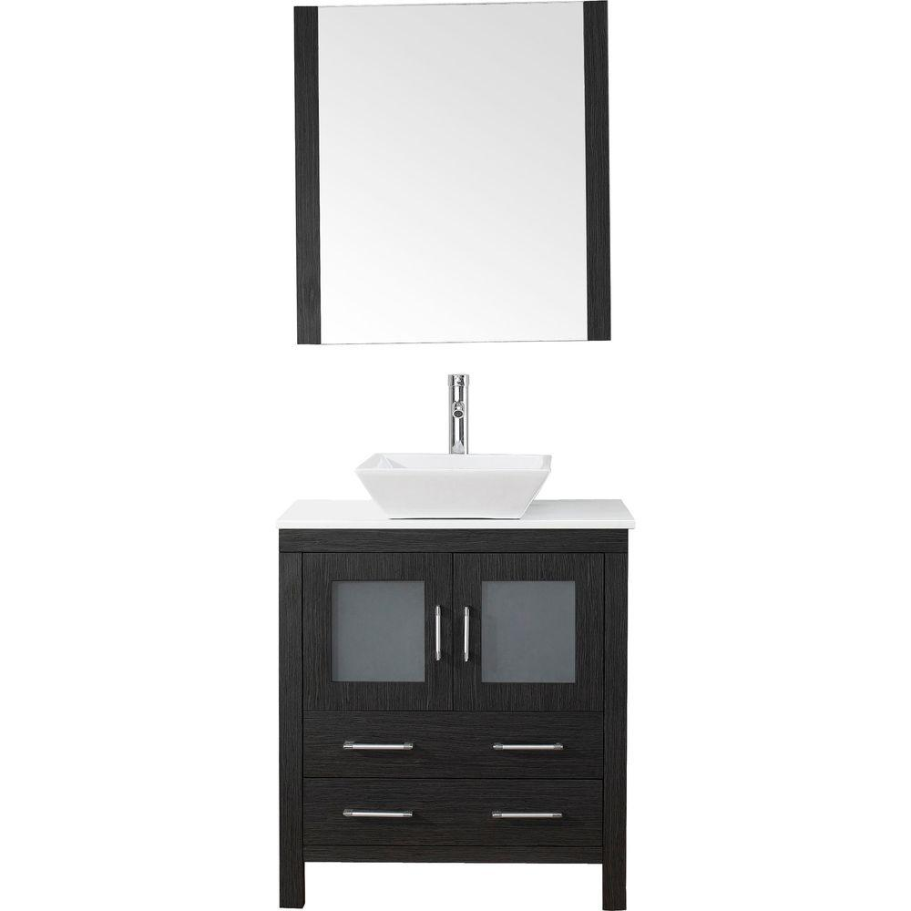 Virtu USA Dior 31 in. W Bath Vanity in Zebra Gray with Stone Vanity Top in White with Square Basin and Mirror and Faucet