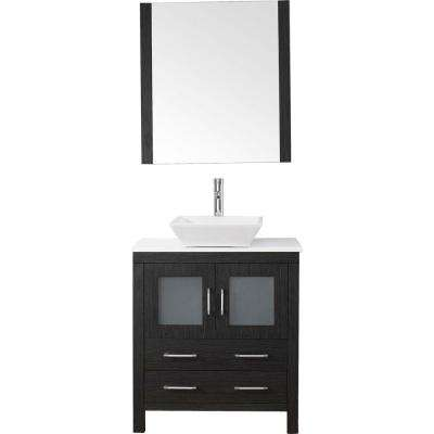 Dior 30 in. W x 18.3 in. D Vanity in Zebra Grey with Stone Vanity Top in White with White Basin and Mirror