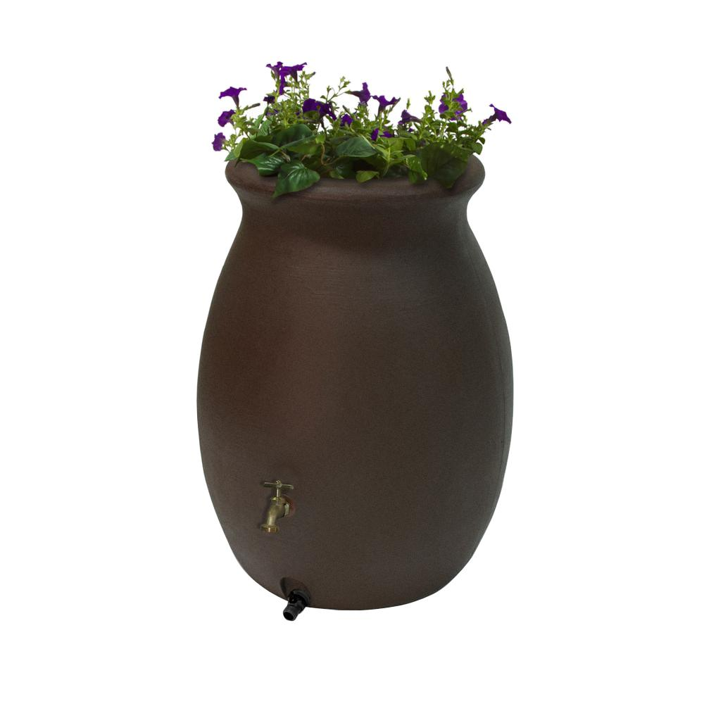 Algreen Castilla 50 Gal. Brownstone Decorative Rain Barrel with Planter