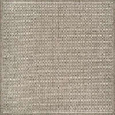 Recife Saddle Stitch Champagne-Taupe 8 ft. x 8 ft. Square Indoor/Outdoor Area Rug