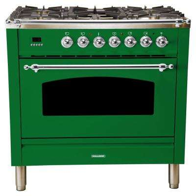 36 in. 3.55 cu. ft. Single Oven Italian Gas Range True Convection, 5 Burners, Griddle, Chrome Trim in Emerald Green