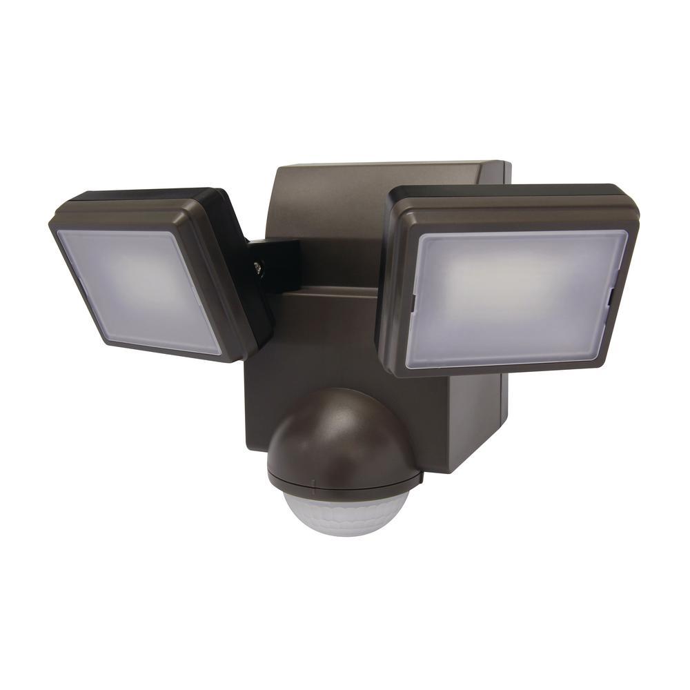 700 Lumen 180-Degree Bronze LED Battery Motion Sensor Light