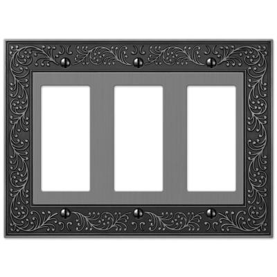English Garden 3 Gang Rocker Metal Wall Plate - Antique Nickel
