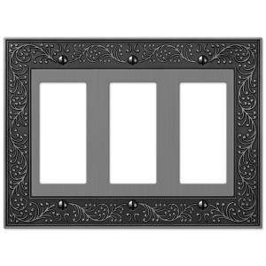 Amerelle English Garden 3 Decora Wall Plate - Antique Nickel by Amerelle