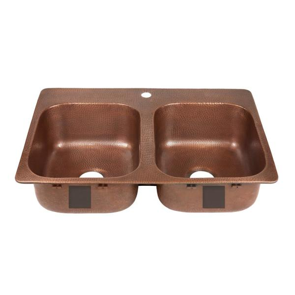 Santi Drop-In Handmade Pure Solid Copper 33 in. 50/50 1-Hole Double Bowl Copper Kitchen Sink in Antique Copper