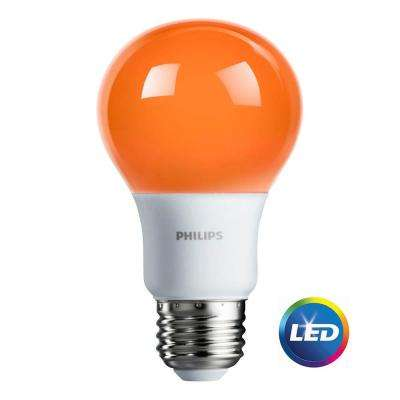 60-Watt Equivalent A19 Non-Dimmable Orange LED Colored Light Bulb (4-Pack)