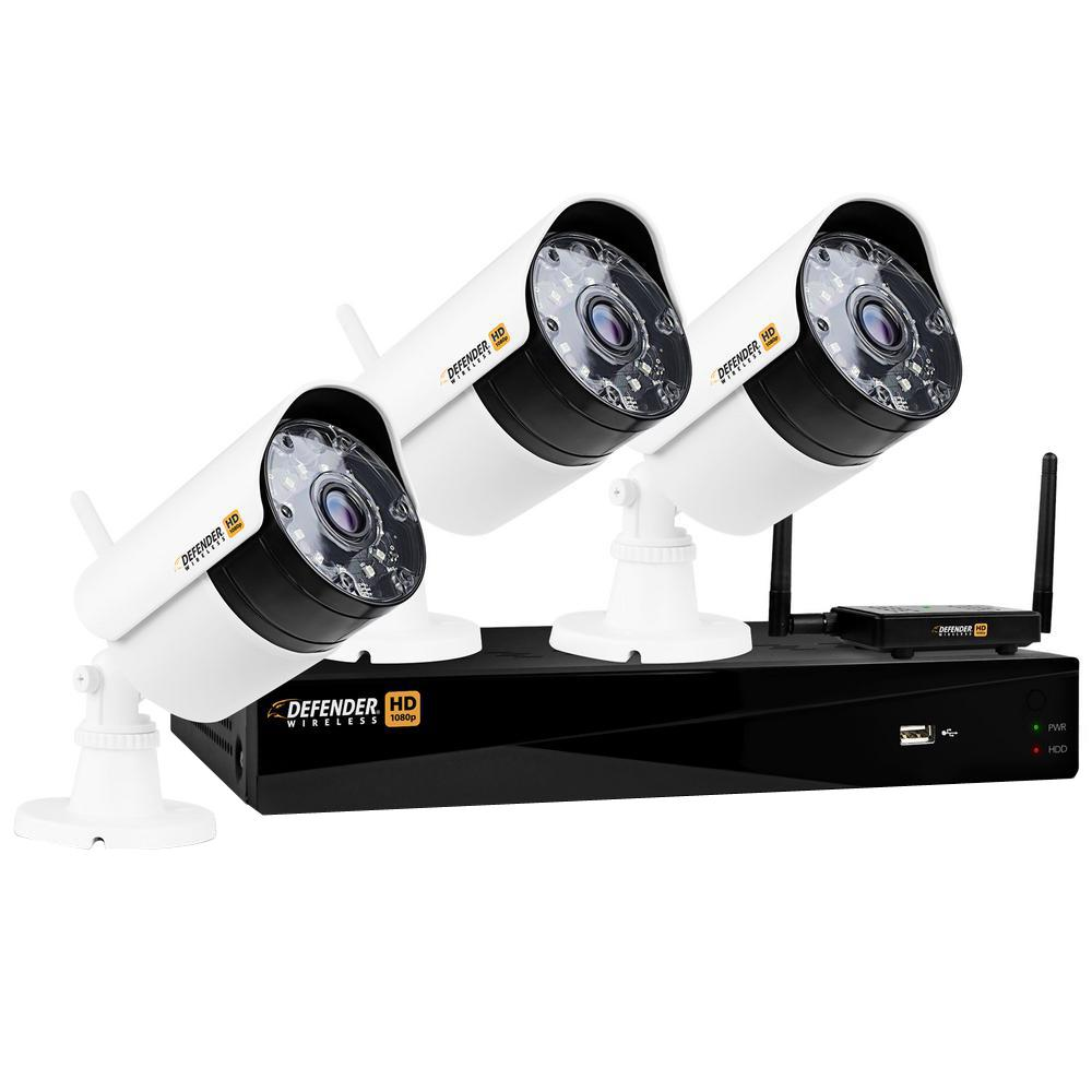 Defender Wireless HD 1080p 4-Channel 1TB DVR Security System with 3 Bullet Cameras