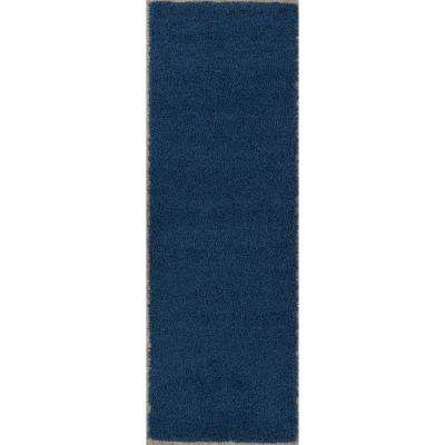 Cozy Shag Collection Navy Blue 2 ft. x 5 ft. Solid Design Area Rug