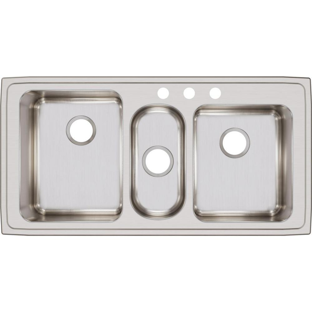 Elkay Lustertone Drop-In Stainless Steel 43 in. 3-Hole Triple Bowl Kitchen  Sink