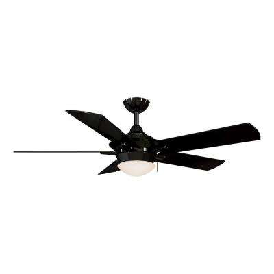 Led indoor glossy black ceiling fan with light kit