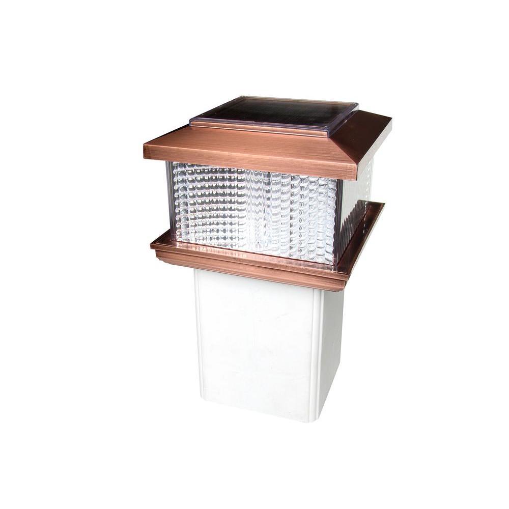 Veranda 4 in. x 4 in. Copper Plastic Square Plating Solar Powered Adaptable Post Cap