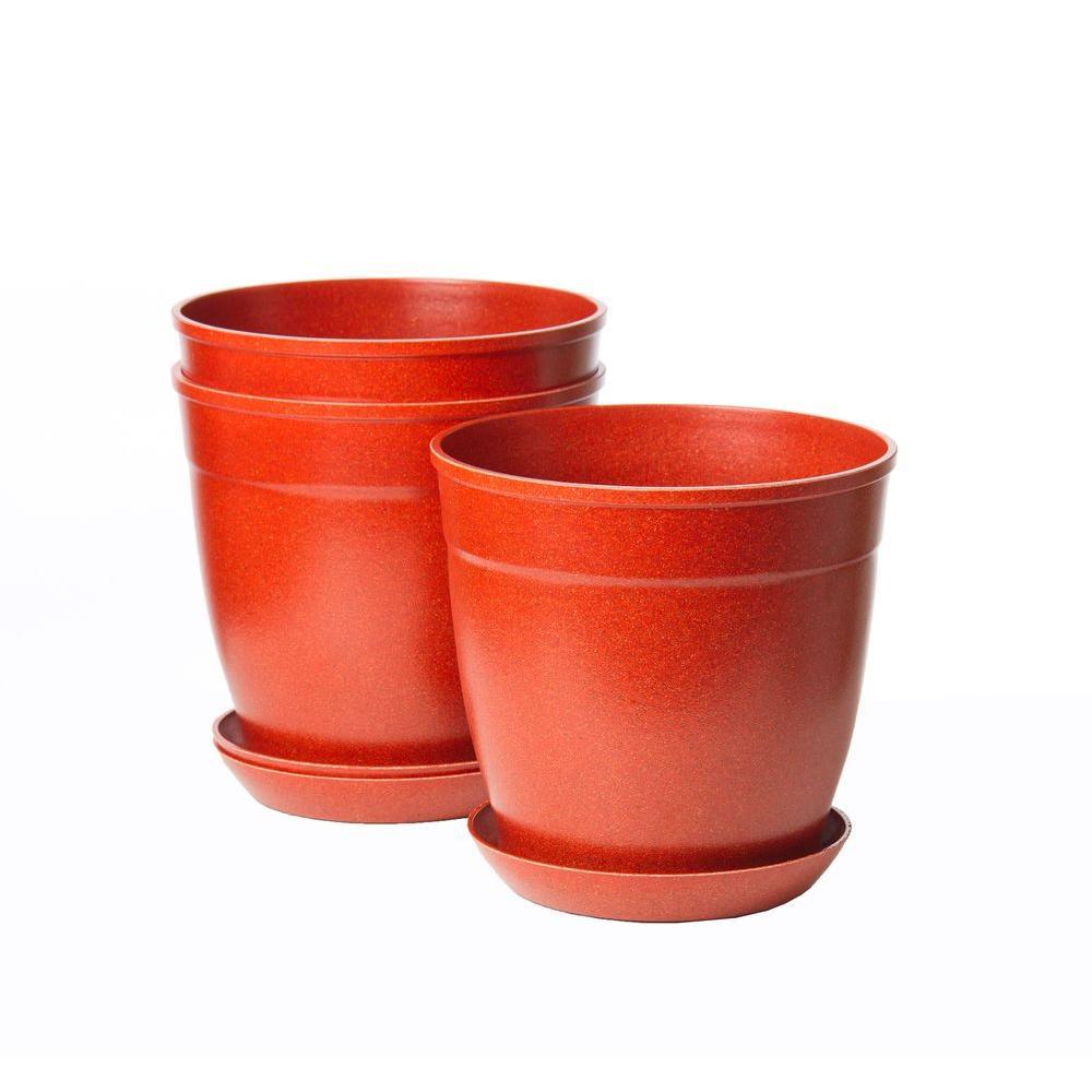 8 in. Brick Bio-Degradable Rice Hulls Patio Pot and Saucer (Set of 3)