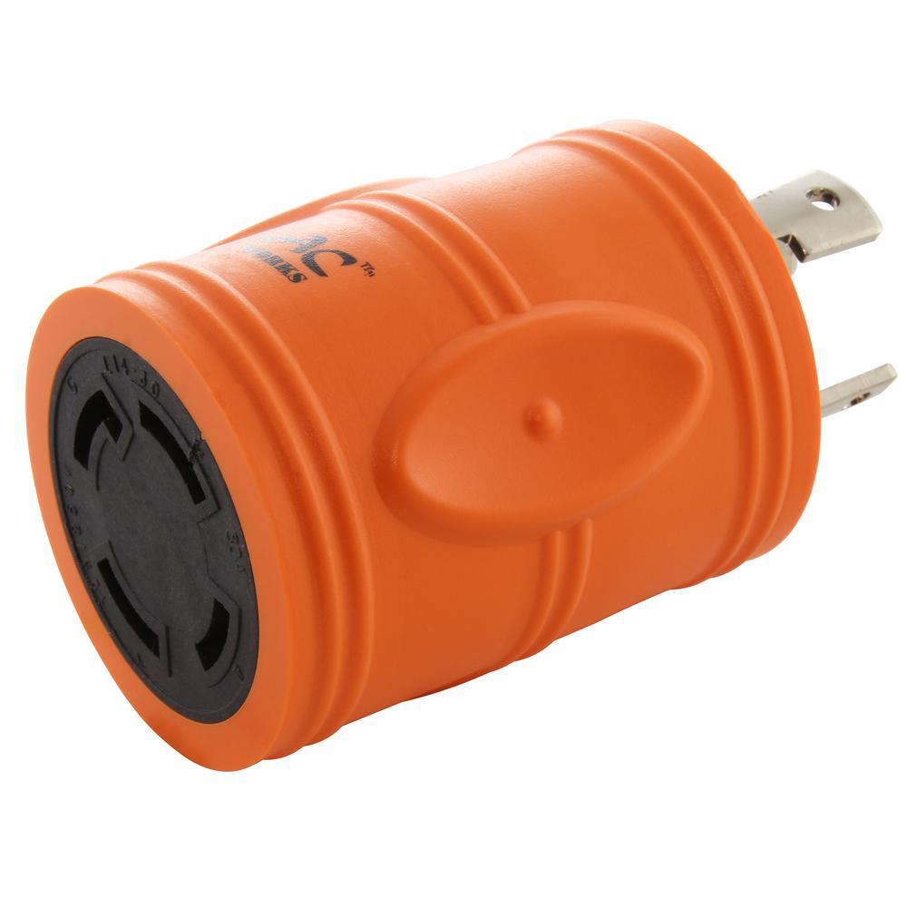 L6-30 Industrial Plug Adapter 30 Amp 250-Volt Locking Plug to L14-30R 30 Amp 4-Prong Locking Female Connector