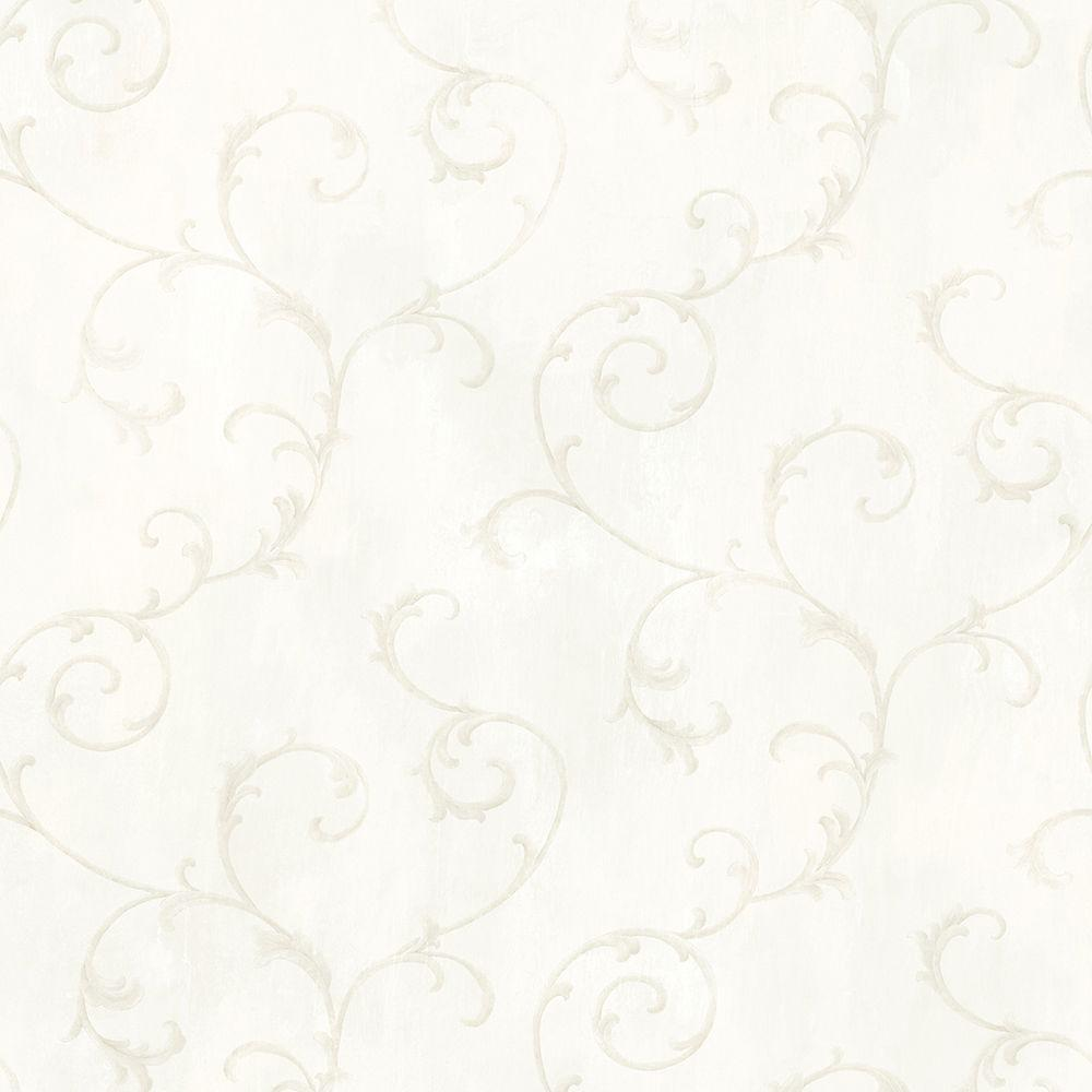 Mimosa Ivory Scroll Wallpaper Sample
