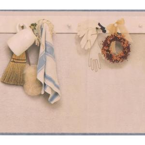 Bathroom Tools Hanging On The Wall Wide Prepasted Wallpaper Border