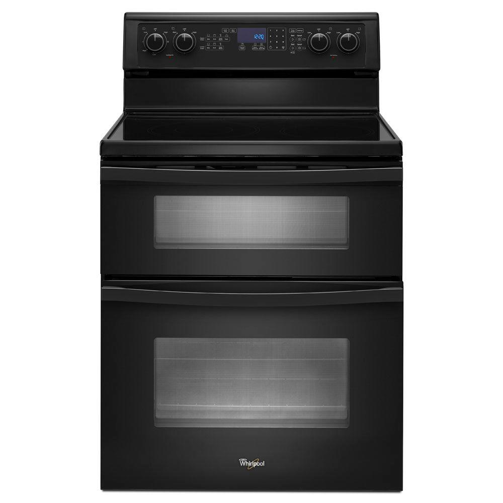 Whirlpool 6.7 cu. ft. Double Oven Electric Range with Self-Cleaning Oven in Black