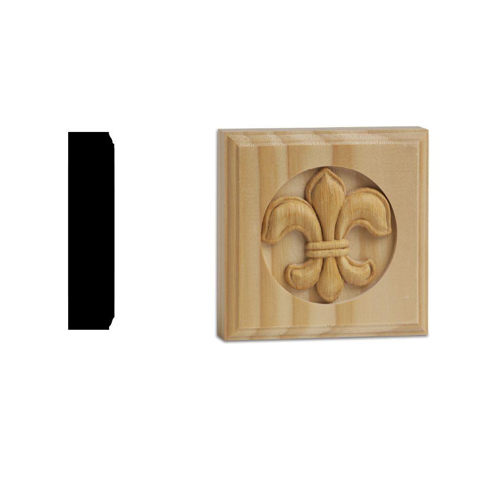 DM 375FLR 7/8 in. x 3-3/4 in. x 3-3/4 in. Solid Pine Fleur De Lis Miterless Rosette Block