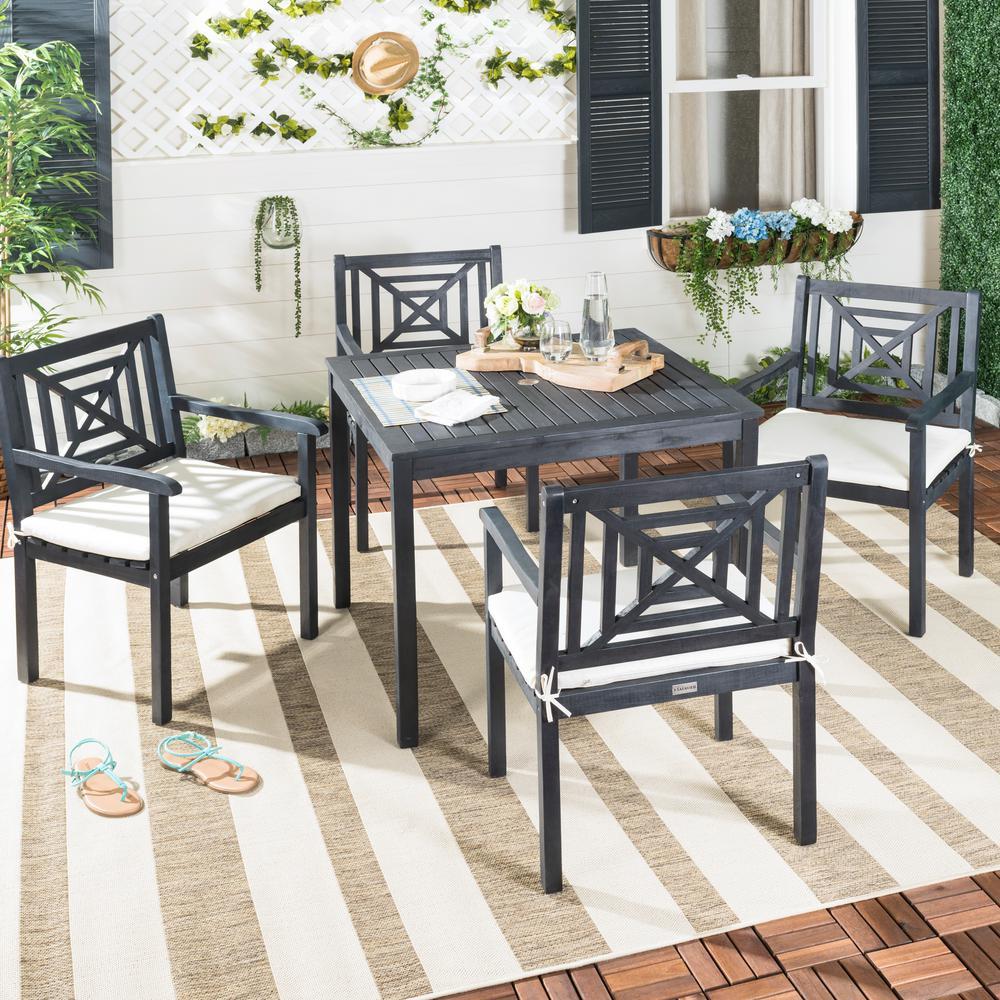 Safavieh Del Mar 5-Piece Dark Slate Gray Wood Patio Seating Set with Beige Cushions