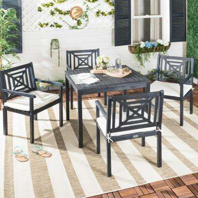 Del Mar 5-Piece Dark Slate Gray Wood Patio Seating Set with Beige Cushions